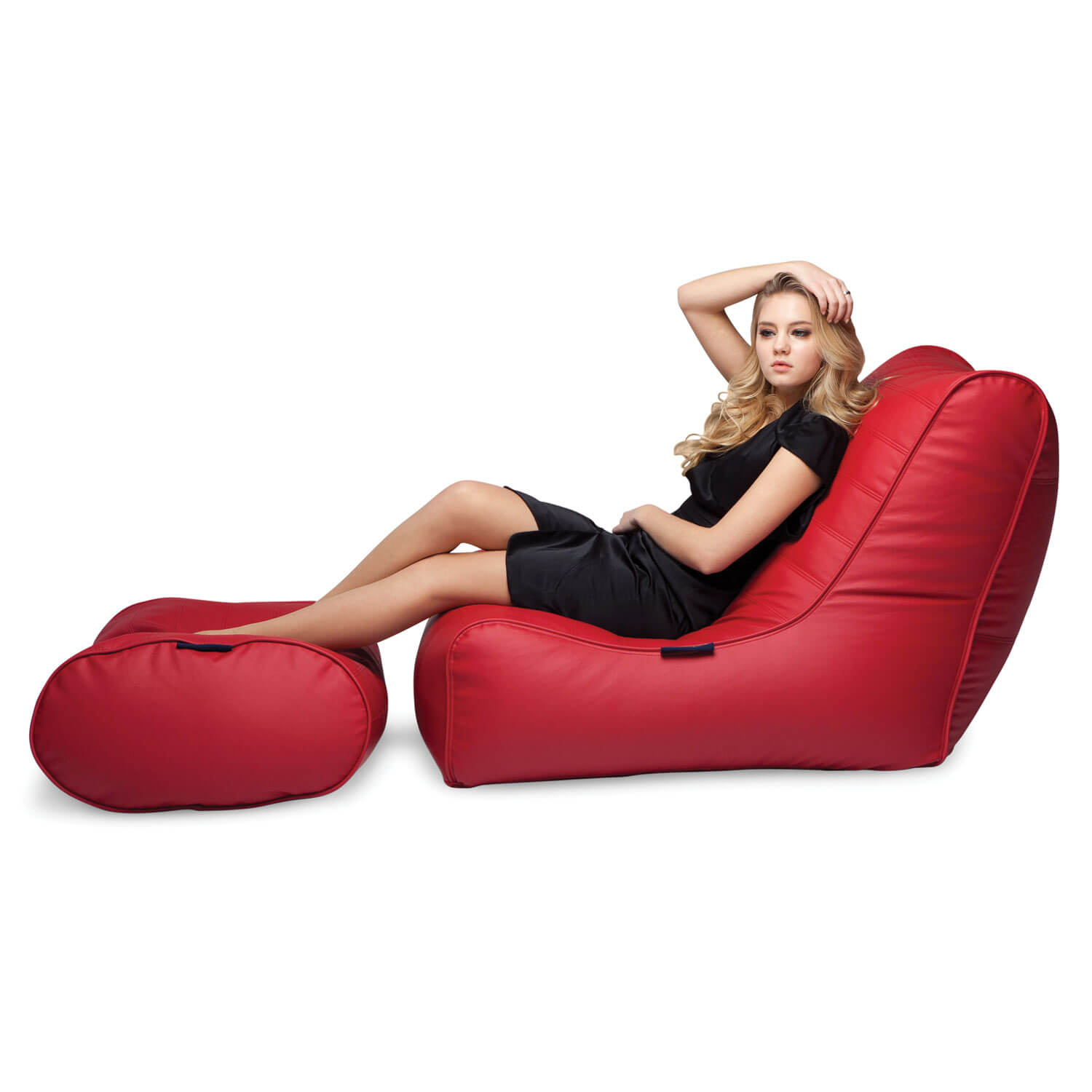 Red Leather Bean Bags Ambient Lounge