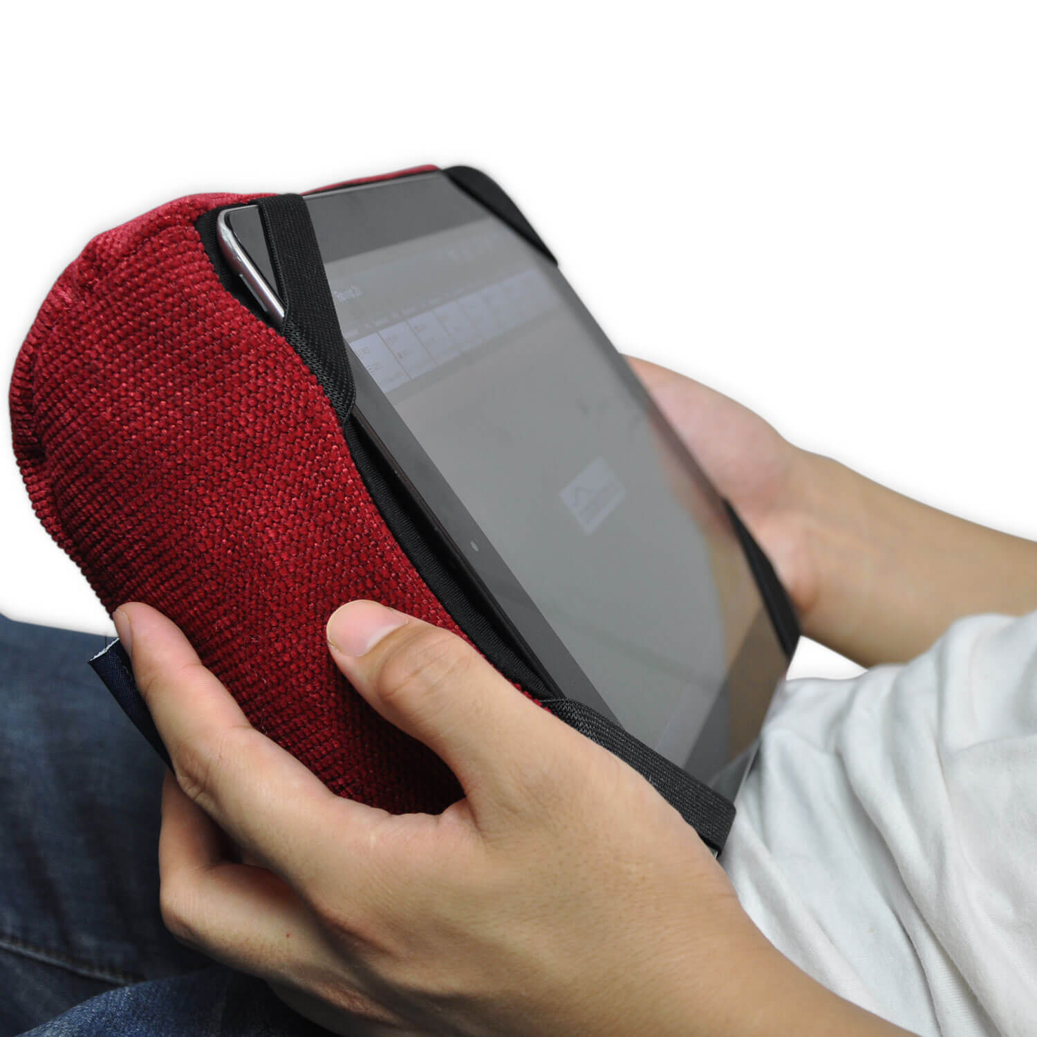 Tech Pillow Red Ipad Rest And Head Cushion For Travel