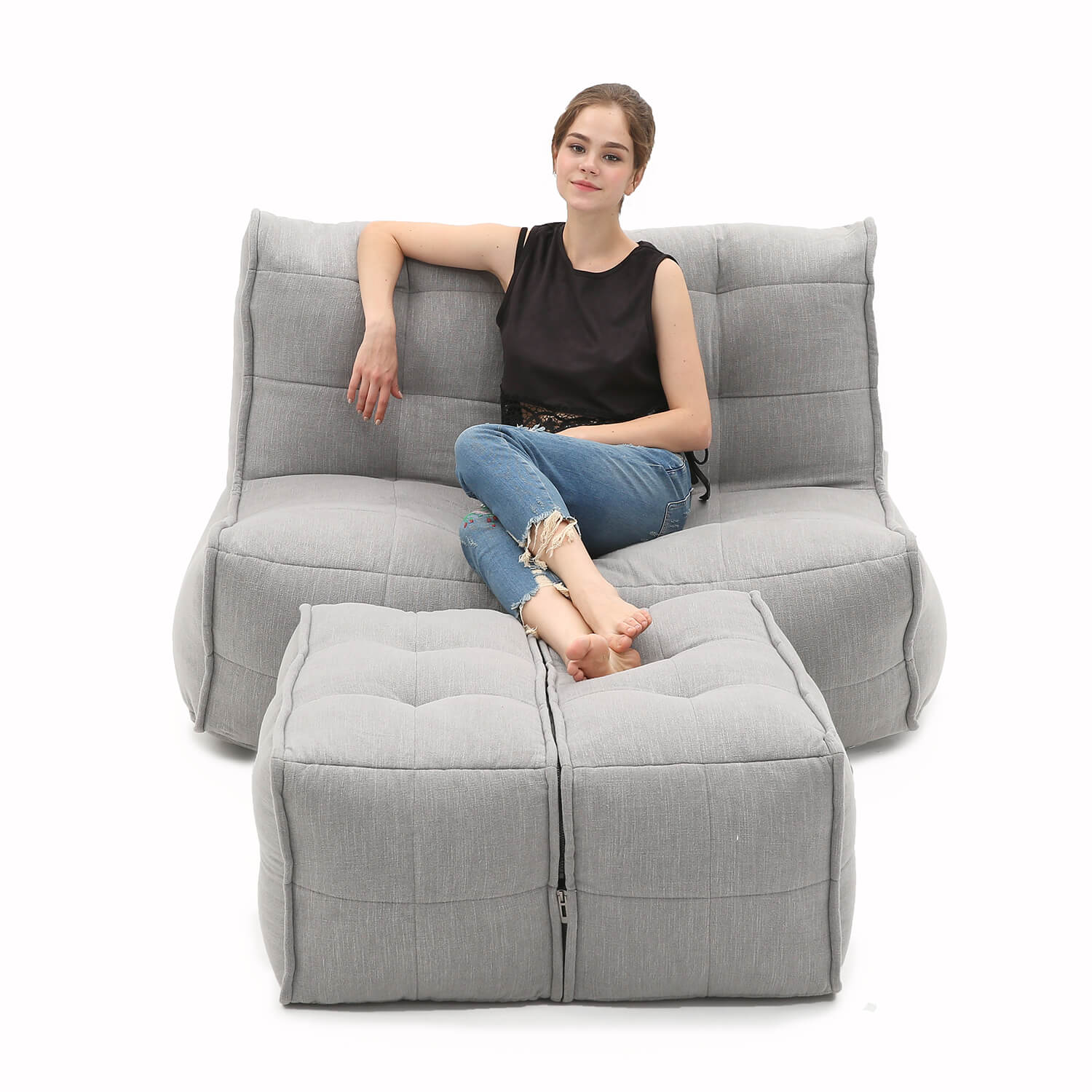 2 Seater Grey Sofa Designer Bean Bag Couch