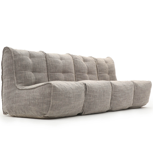 comfortable 4 Piece Modular Quad Couch Bean Bags in beige Interior Fabric