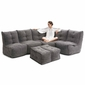 comfortable 5 Piece modular Couch Bean Bags in grey Interior Fabric