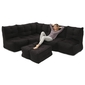 5 Piece Modular Living Lounge Bean Bag in Black Sapphire Interior Fabric