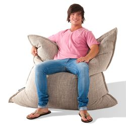 beige flat pillow made of bean bags by Ambient Lounge