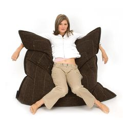 brown flat pillow made of bean bags by Ambient Lounge
