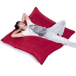 red flat pillow made of bean bags by Ambient Lounge