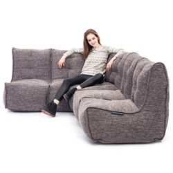 comfortable Modular L sofa Bean Bags in Grey Interior Fabric