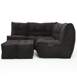 comfortable 4 Piece modular Couch Bean Bags in black Interior Fabric