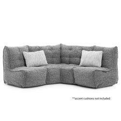 comfortable cozy corner Bean Bags in grey Interior Fabric