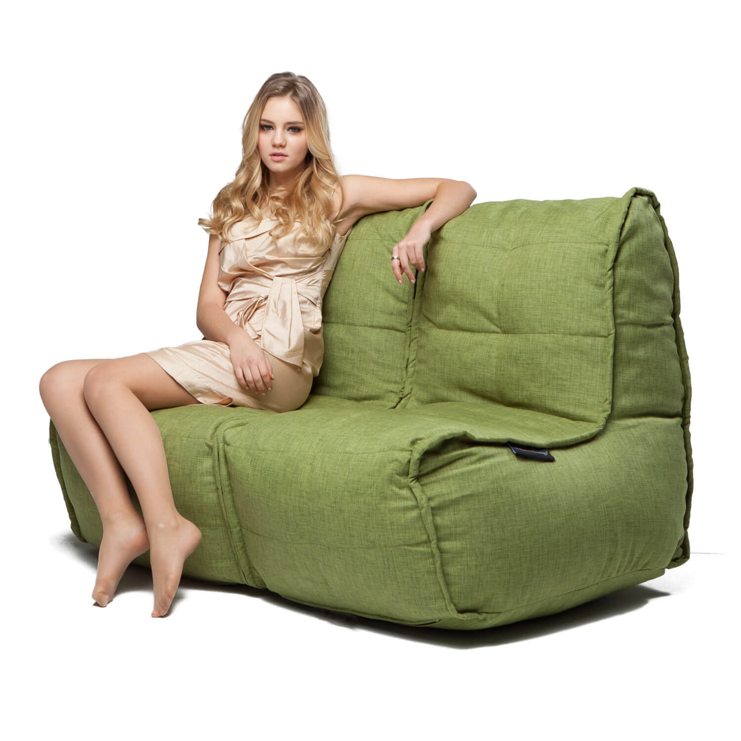 2 Seater Cream Sofa Designer Bean Bag Couch