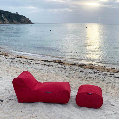 red designer sofa set in Sunbrella fabric bean bag by Ambient Lounge