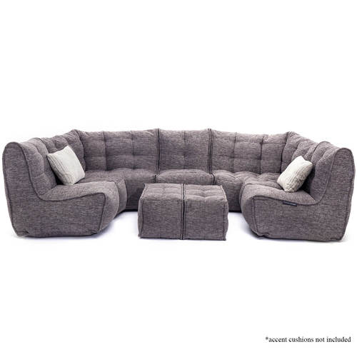 comfortable 6 Piece Modular living lounge Bean Bags in Grey Interior Fabric