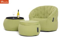 lime green designer sofa set in Sunbrella fabric bean bag by Ambient Lounge