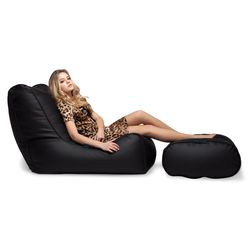 black leather bean bags - Ambient Lounge