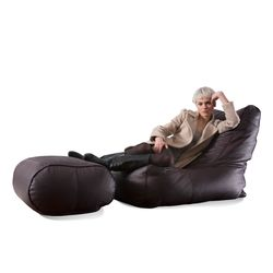 brown leather bean bags - Ambient Lounge