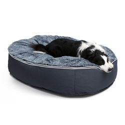 large dark grey faux fur cover dog bed filled with beans by Ambient Lounge New Zealand