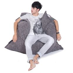grey flat pillow made of bean bags by Ambient Lounge