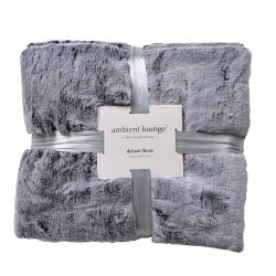 800gm sensory grey deluxe faux fur throw by ambient lounge