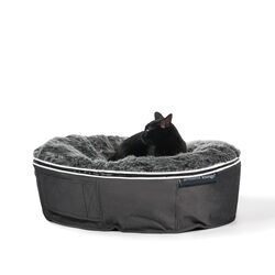 small dark grey cat bed with faux fur cover bead bags for cats by Ambient Lounge New Zealand