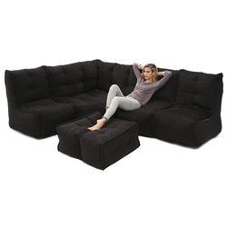 5 Piece Modular Living Lounge Bean Bag in Black Sapphire Interior Fabric