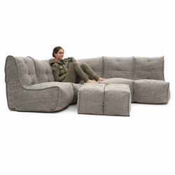 5 Piece Modular Living Lounge Bean Bag in Beige Interior Fabric
