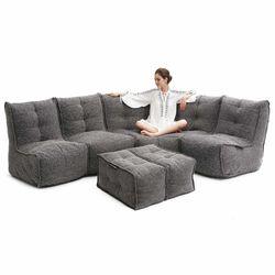 comfortable 5 Piece modular Couch Bean Bags in grey Interior Fabric