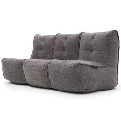 comfortable 3 Piece movie couch Bean Bags in Grey Interior Fabric
