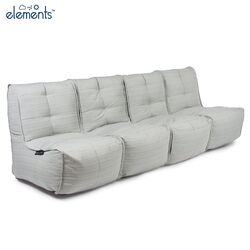 comfortable 4 Piece Modular Quad Couch Bean Bags in Grey with linen Interior Fabric