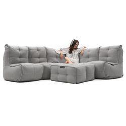 5 Piece Modular Living Lounge Bean Bag in Grey with Linen Interior Fabric